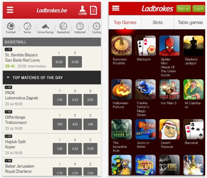 L'Application mobile Ladbrokes